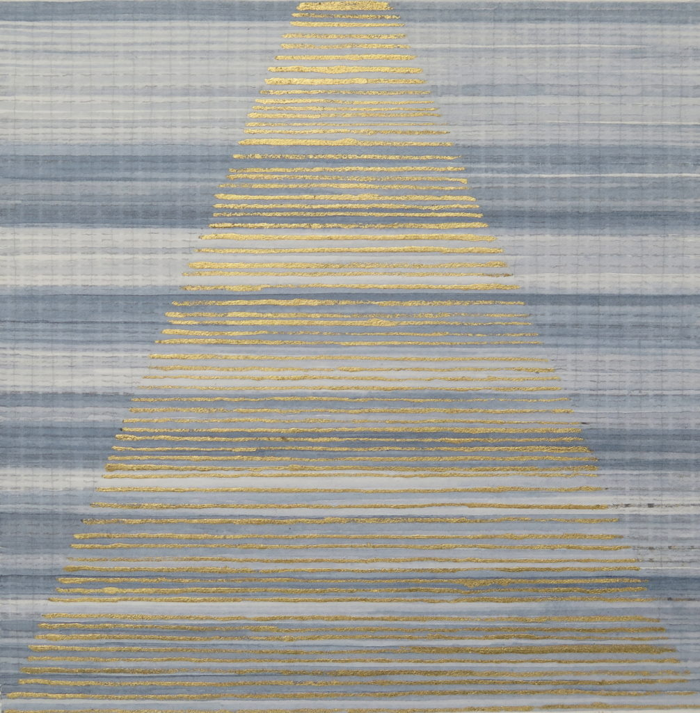 Golden Hour 4, 2019, burnt line and gold leaf on paper, 20 x 20 cm