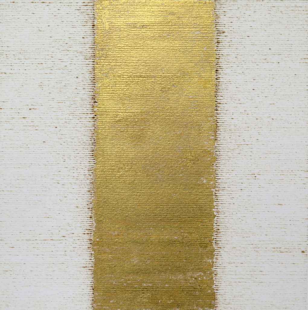 Golden Hour 1, 2019, burnt line and gold leaf on paper, 20 x 20 cm