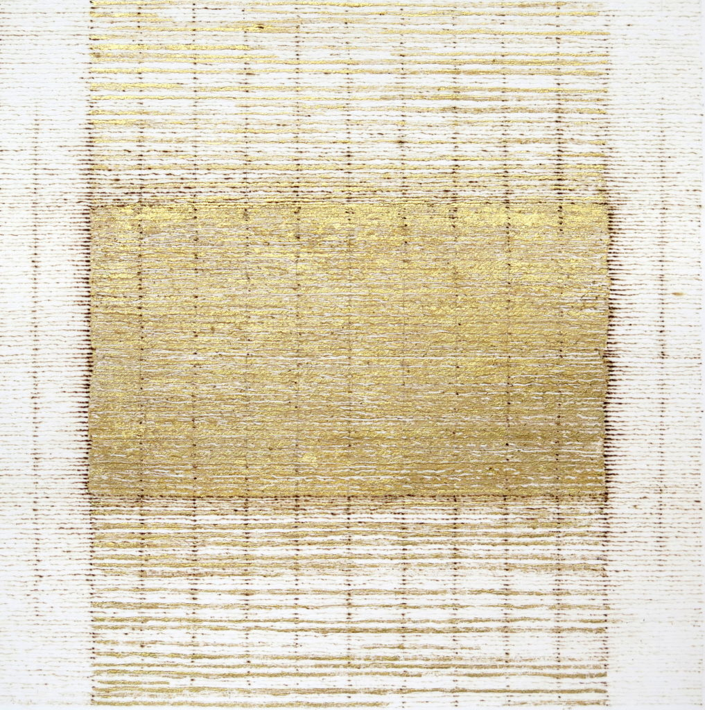 Golden Hour 2, 2019, burnt line and gold leaf on paper, 20 x 20 cm