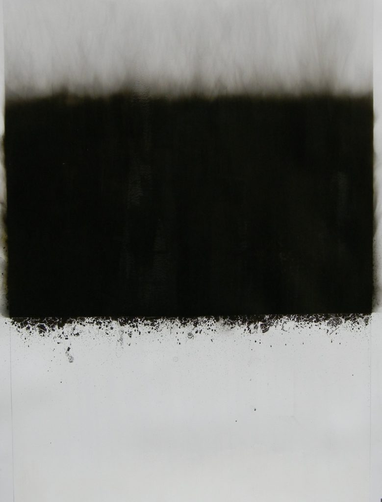 Horizon, 2017, soot and water on paper, 96 x 67 cm