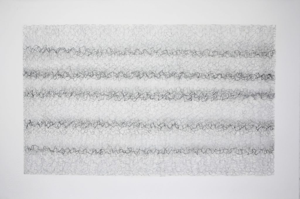 John Cage in a Landscape Revisited, 2018, graphite and mixed media, 38 x 56 cm
