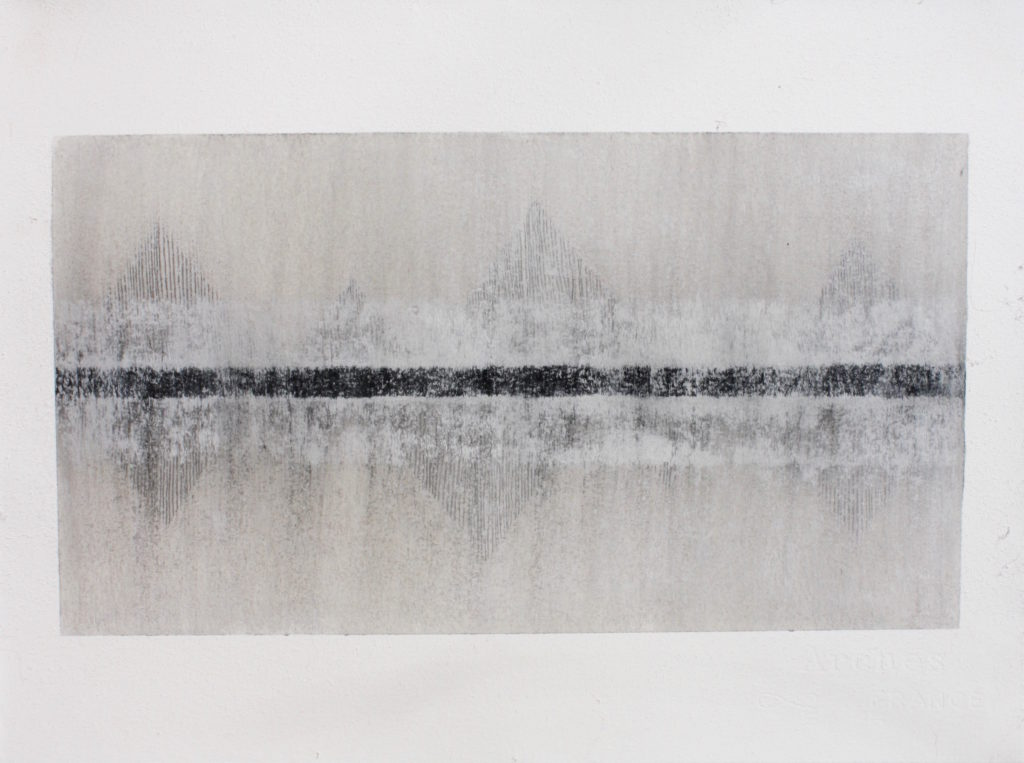 La Cathédrale Engloutie, Variation 1, 2018, graphite, charcoal and mixed media, 29 x 38 cm