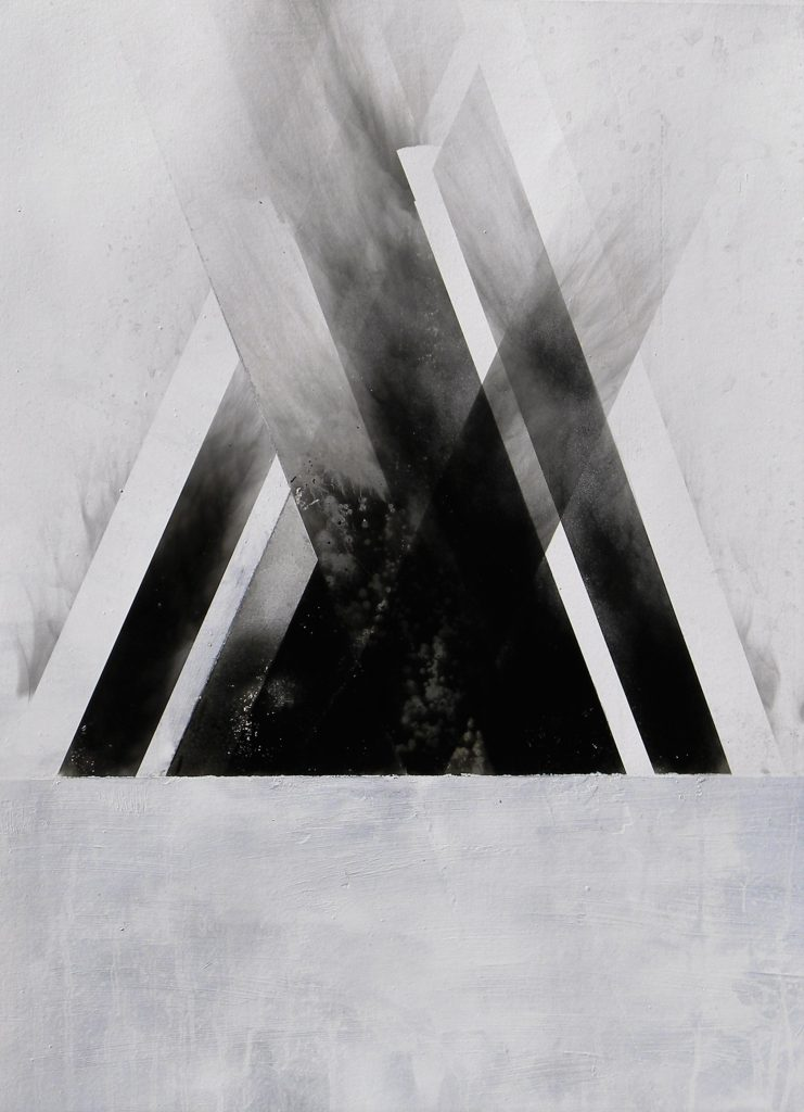 Pyramid, white gloss paint, soot and water, 100 x 66 cm
