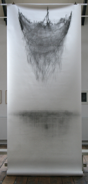 Suspended I, 2009, charcoal and graphite on paper, 150 x 420 cm