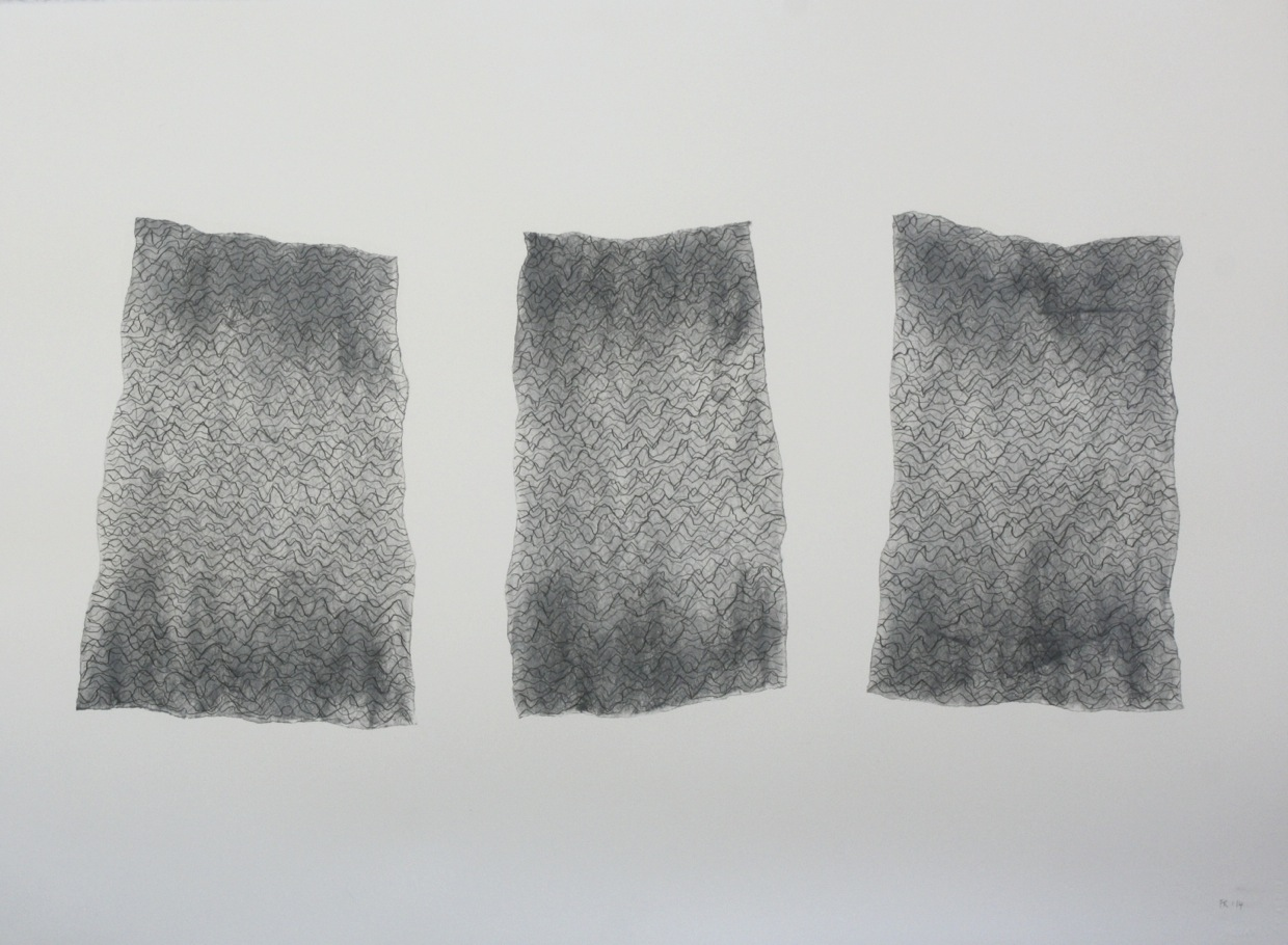 John Cage in a Landscape 1948, No 3, 2014, graphite, charcoal, chalk and wax, 56 × 76 cm