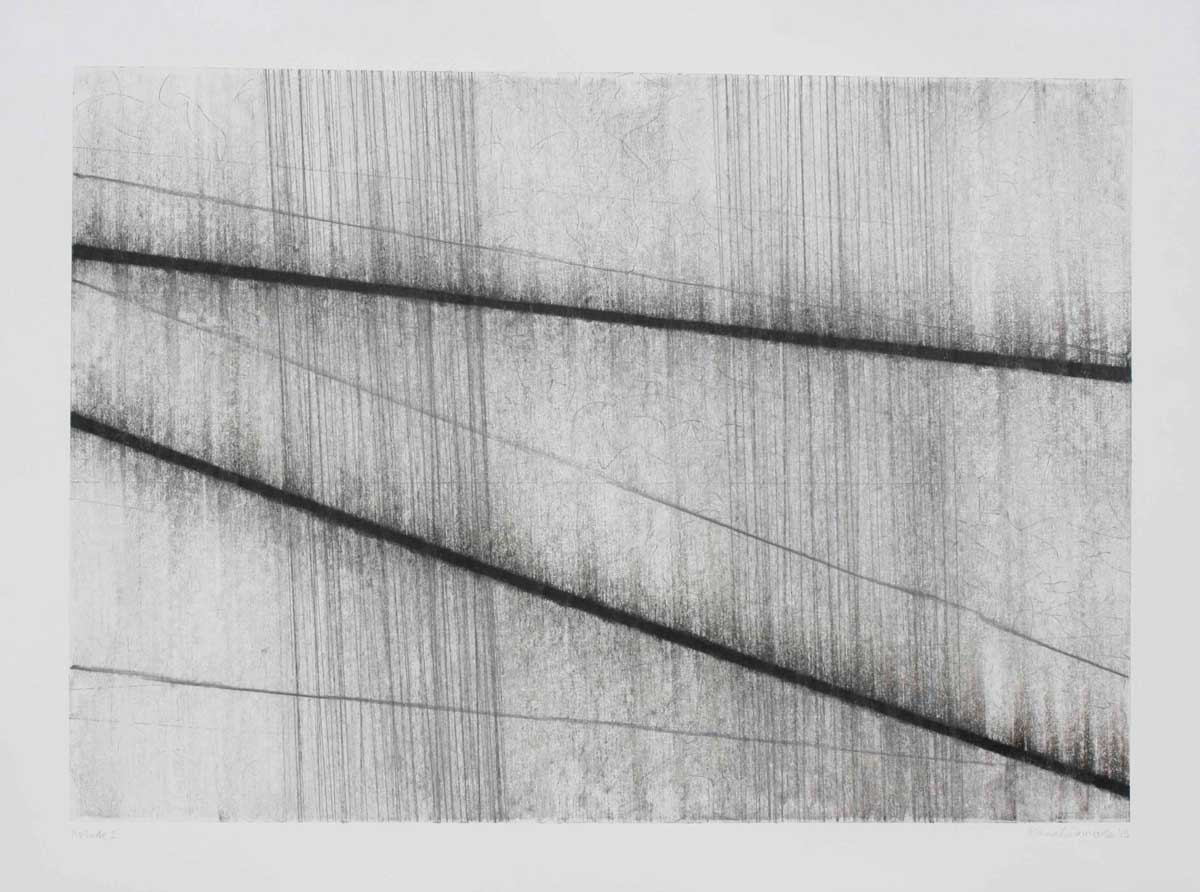 Fiona Robinson, Prelude 2, 2013, graphite, charcoal and mixed media on paper, 56 x 76 cm