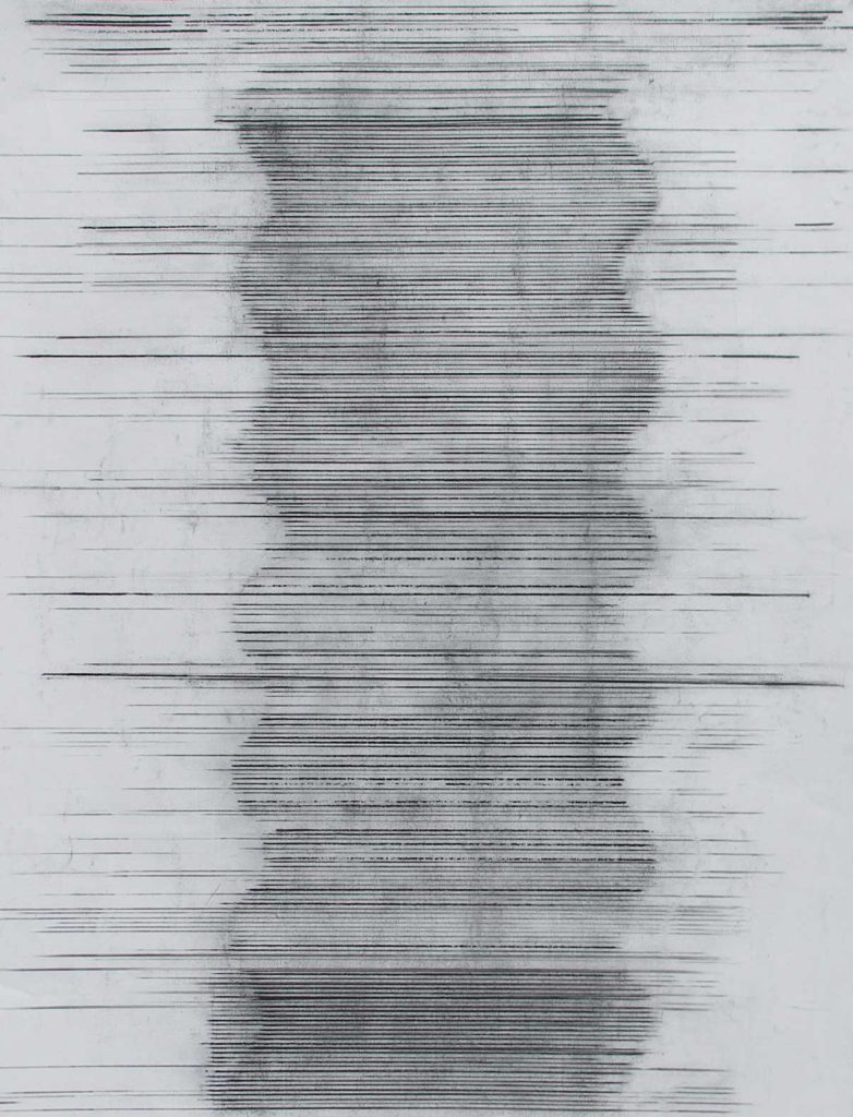 Touch 3, 2015, charcoal on paper, 128 x 94 cm