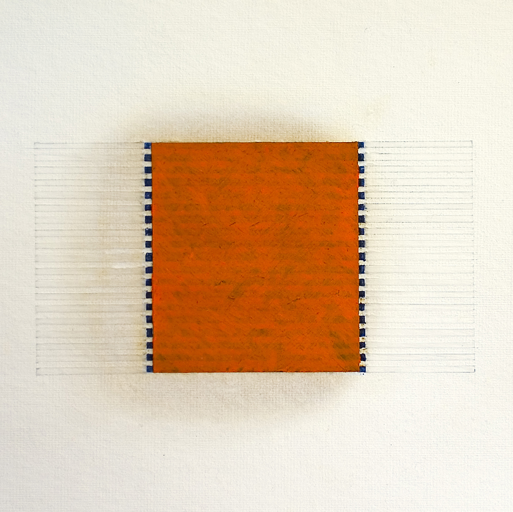 Boundaries, Edges, Parallels (6137), 2014, watercolour, waxed Asian paper, oil and pencil on cotton paper, 33 x 33 cm
