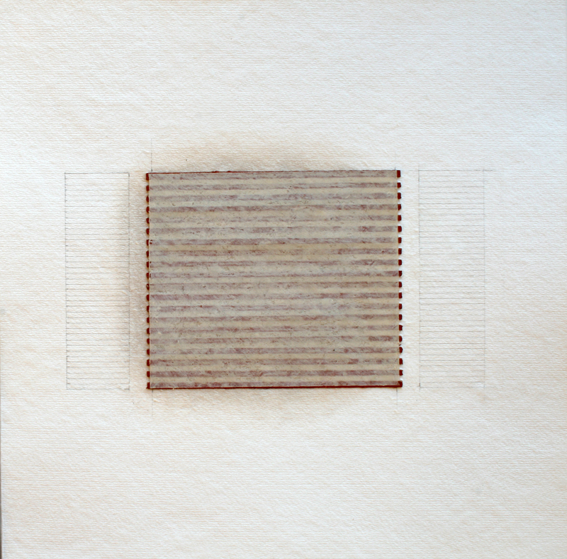 Realignments #18, 2018, watercolour, waxed Asian paper, oil and pencil on cotton paper, 33 33 cm