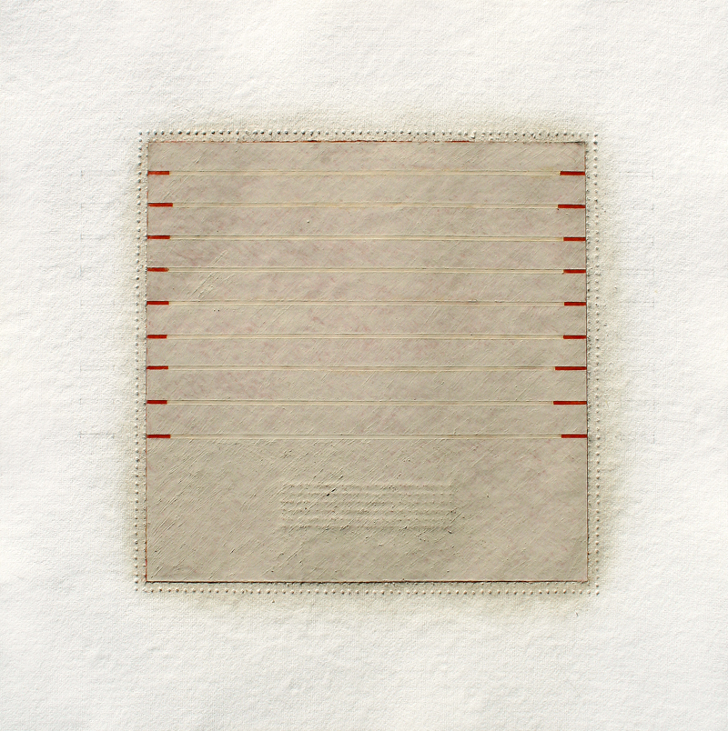 Realignments #2, 2014, watercolour, waxed Asian paper, oil and pencil on cotton paper, 57 x 57 cm