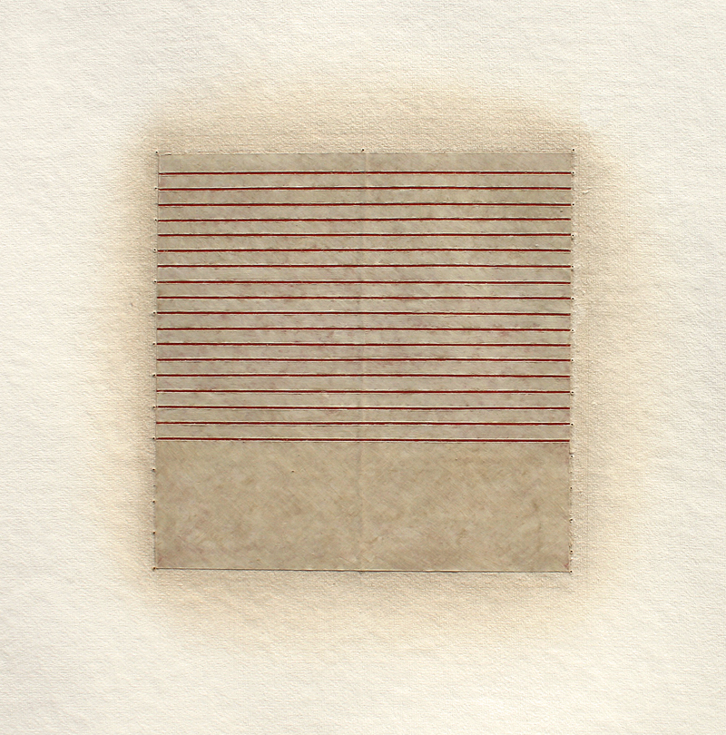 Realignments #6, 2014, watercolour, waxed Asian paper, oil and pencil on cotton paper, 57 x 57 cm