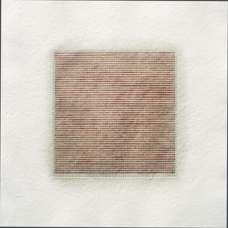Sequel #9, 2014, watercolour, waxed Asian paper, oil and pencil on cotton paper, 67 x 67 cm